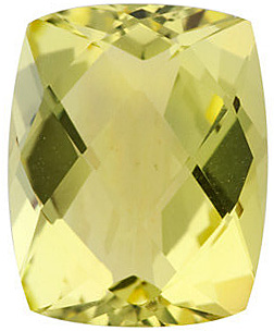 Loose Genuine Gem  Lemon Quartz Stone, Antique Cushion Shape Checkerboard, Grade AA, 11.00 x 9.00 mm in Size, 4.3 Carats