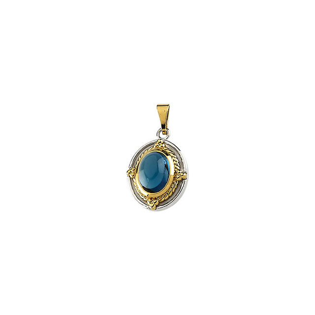 Fine Quality Genuine London Blue Topaz Cabochon Pendant