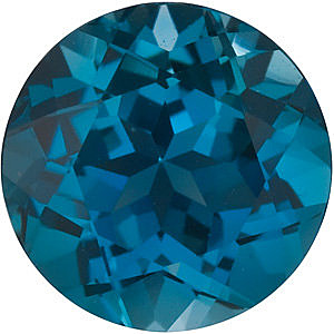 Faceted   London Blue Topaz Gemstone, Round Shape, Grade AAA, 5.00 mm in Size, 0.6 Carats