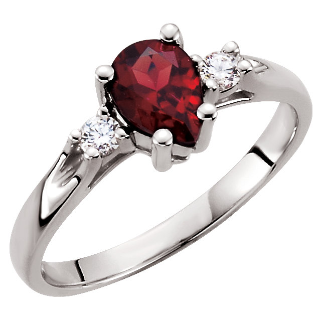 Perfect Gift Idea in Genuine Mozambique Garnet & Diamond Ring