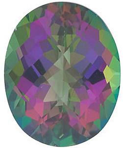 Loose Genuine  Mystic Green Topaz Gemstone, Oval Shape Checkerboard, Grade AAA, 12.00 x 10.00 mm in Size, 6 Carats