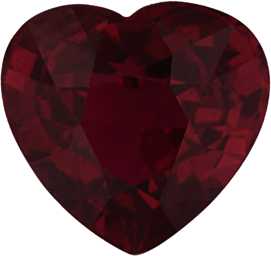 Genuine  No Treatment Ruby Loose Gem in Heart Cut, Vibrant Purple Red, 6.08 x 6.40  mm, 1.21 Carats