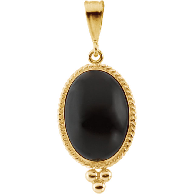 Easy Gift in Genuine Onyx Cabochon Pendant