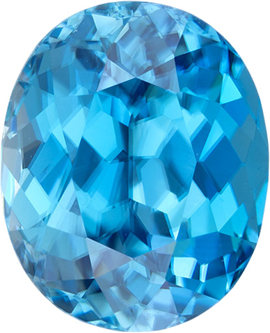 Genuine Oval Blue Zircon Gemstone in Rich Blue Color, 10.5 x 8.6 mm, 5.72 Carats