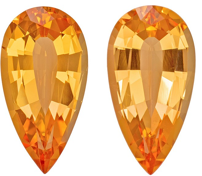 Genuine Imperial Topaz Gemstones, Pear Cut, 6.16 carats, 13.3 x 6.9 mm Matching Pair, AfricaGems Certified - A Low Price