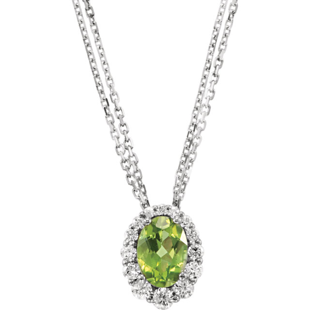 Genuine Peridot & Diamond 18