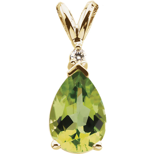Appealing Jewelry in 14 Karat Yellow Gold 10x7mm Pear Peridot & .04 Carat Diamond Pendant