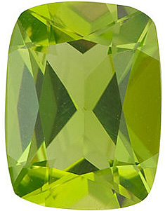 Loose  Peridot Gem, Antique Cushion Shape, Grade AAA, 8.00 x 6.00 mm in Size, 1.5 Carats