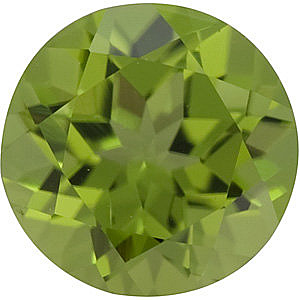 Faceted Loose  Peridot Stone, Round Shape, Grade AAA, 6.00 mm in Size, 0.95 Carats
