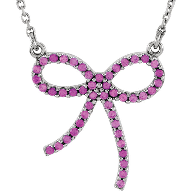 Genuine 14 KT White Gold Pink Sapphire Bow 16