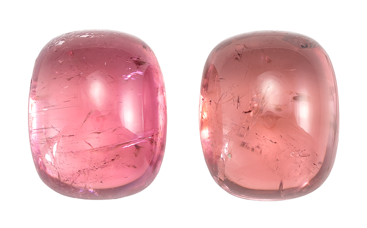 Genuine Pink Tourmaline Gemstones, Cabochon Cut, 8.19 carats, 10 x 8 mm Matching Pair, AfricaGems Certified - Unusually Fine