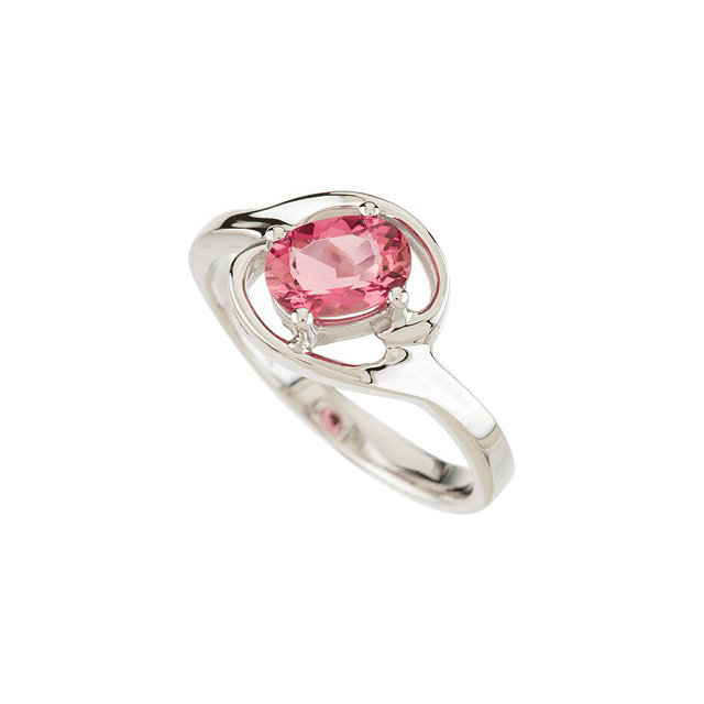 Spectacular Oval Genuine Pink Tourmaline Ring