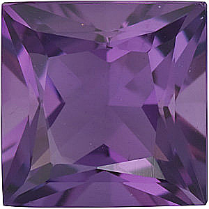 Loose Calibrated Natural Size Amethyst Gemstone in Princess Shape, Grade AA, 8.00 mm in Size, 2.3 carats