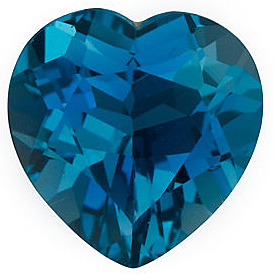 Gemstone Loose  Quality Loose Faceted Heart Shape London Blue Topaz Gem Grade AAA, 6.00 mm in Size, 1 Carats