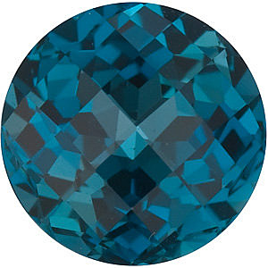 Loose Natural  Quality Loose Faceted Round Shape Checkerboard London Blue Topaz Gemstone Grade AAA, 7.00 mm in Size, 1.65 Carats