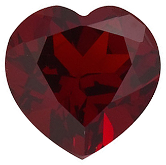 Genuine Gemstone  Red Garnet Gem, Heart Shape, Grade AAA, 8.00 mm in Size, 2 carats