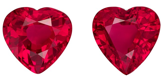 Unique Fiery Ruby Gemstones, Heart Cut, 1.69 carats, 6 x 5.8 mm Matching Pair, AfricaGems Certified - A Great Buy