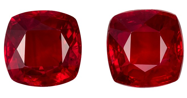 Genuine Ruby Cushion Shaped Gemstones Matching Pair, 2.62 carats, 6 x 6mm - Low Price on