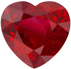Loose Ruby Stone, Heart Shape, Grade AA, 4.00 mm in Size, 0.36 Carats