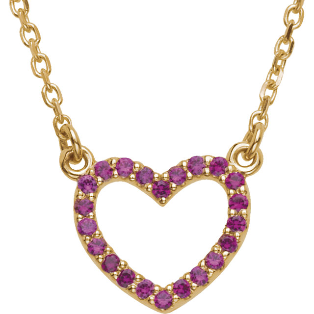 Genuine 14 KT Yellow Gold Ruby Heart 16
