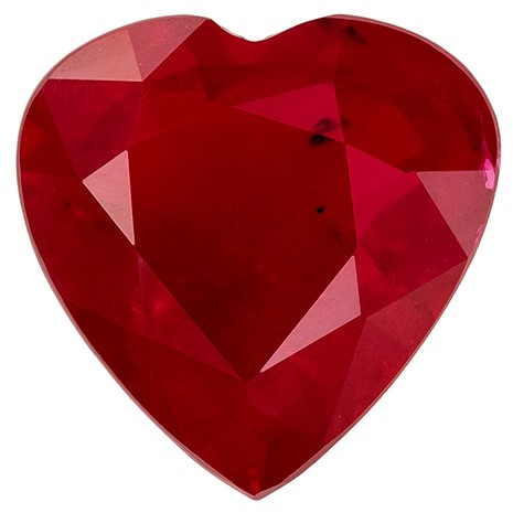 Genuine Ruby Heart Shaped Gemstone, 1.19 carats, 7 x 6.9mm - Unique Beauty
