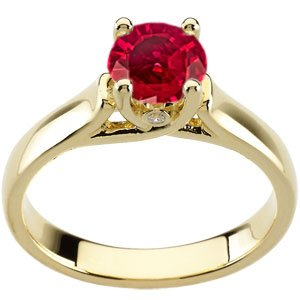 Genuine Ruby Ring Classic! - Superb GEM Genuine 1 carat 6mm Ruby Solitaire Engagement Ring with Bezel Set Diamond Accents