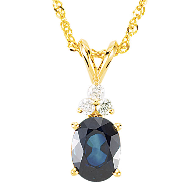 Perfect Gift Idea in 14 Karat Yellow Gold 8x6mm Oval Blue Sapphire & 0.10 Carat Total Weight diamond 18