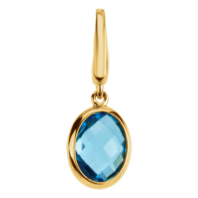 Gorgeous Genuine Swiss Blue Topaz Charm