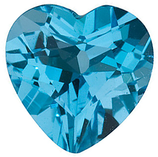 Loose  Swiss Blue Topaz Gem, Heart Shape, Grade AAA, 10.00 mm in Size, 4.9 Carats