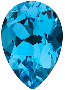 Loose Faceted  Swiss Blue Topaz Gem, Pear Shape, Grade AAA, 12.00 x 8.00 mm in Size, 3.65 Carats