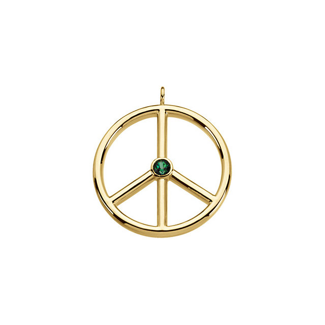 Stunning Genuine Topaz Peace Sign Pendant