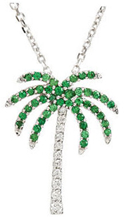 Genuine Tsavorite Garnet and Diamond Palm Tree Necklace