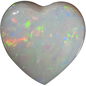 Genuine White Fire Opal Heart Cut  in Grade AAA