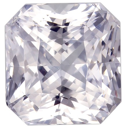 Genuine White Sapphire Gemstone, Radiant Cut, 3 carats, 7.4 x 7.1 mm , AfricaGems Certified - A Great Deal