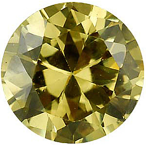 Yellow Cubic Zirconia Gemstone in Round Shape Gemstone Sized 2.50 mm