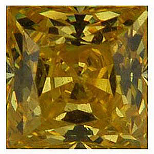 Yellow Cubic Zirconia Gemstone in Square Shape Gemstone Sized 3.00 mm