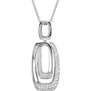 Geometric Inspired Rectangle Pendant with Sparkling Pave .63ct Diamond Accents in 14k White Gold - FREE Chain Included - SOLD