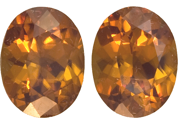 German Cut Zircon Perfect Pair in Oval Cut, Golden Brown Color, 9.5 x 7.5 mm, 5.98 carats