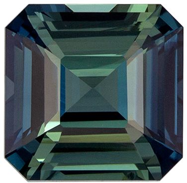GIA Certed Loose Gemstone in Blue Green Sapphire Emerald Cut No Heat, 2.07 carats, 7.18 x 7.09 x 4.19 mm