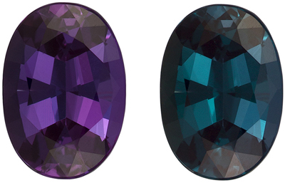 GIA Certified 0.84 carats Alexandrite Loose Gemstone in Oval Cut, Dramatic Change Eggplant to Blue Green, 6.9 x 4.9 mm