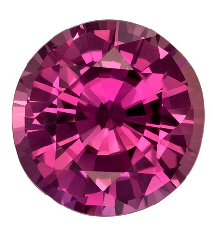 Loose Stunning GIA Certified 1.61 carats Sapphire Loose Gemstone in Round Cut, Vivid Pink, 7.0 x 7.1 mm