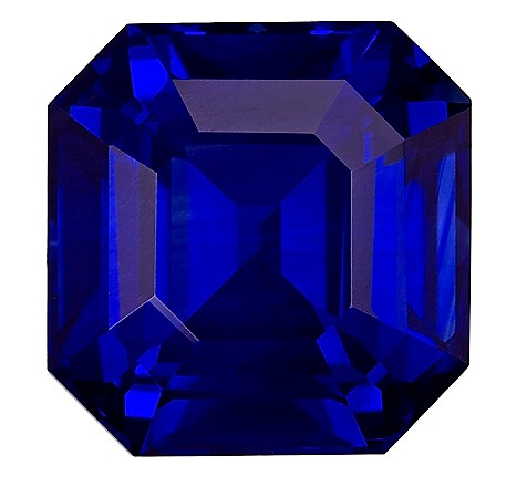 GIA Certified 10.1 x 9.9 mm Blue Sapphire Genuine Gemstone in Emerald Cut, Intense Blue, 6.58 carats