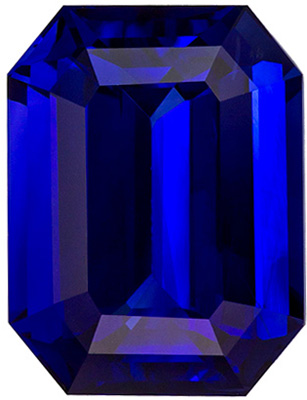 GIA Certified 5.29 carats Blue Sapphire Loose Gemstone in Emerald Cut, Vivid Blue, 10.7 x 8.2 mm