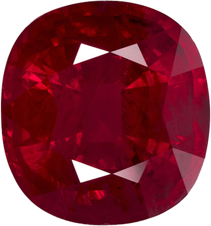 GIA Certified Impressive Ruby in Cushion Cut, Rich Red Color in 9.0 x 8.5 mm, 4.06 carats