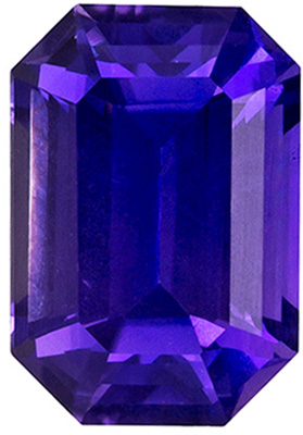 GIA Certified No Heat 4.8 x 4.9 mm Purple Sapphire Genuine Gemstone in Emerald Cut, Rich Purple, 1.18 carats