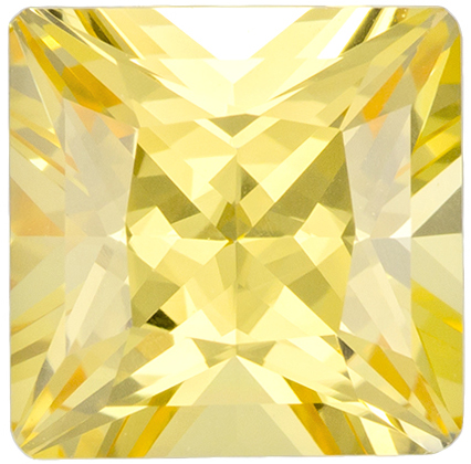 GIA Certified No Heat 6.9 x 6.9 mm Yellow Sapphire Genuine Gemstone in Radiant Cut, Pure Rich Yellow, 1.91 carats