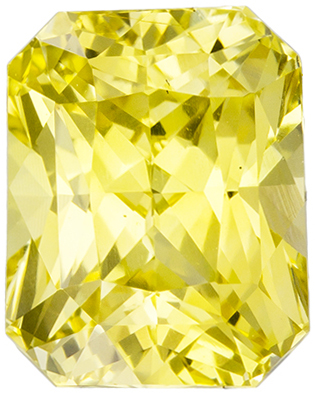 GIA Certified No Heat 7.3 x 5.8 mm Yellow Sapphire Genuine Gemstone in Radiant Cut, Pure Rich Yellow, 2.06 carats