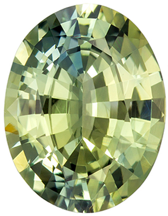 GIA Certified No Heat 7.7 x 5.5 mm Green Sapphire Genuine Gemstone in Oval Cut, Medium Green, 1.67 carats