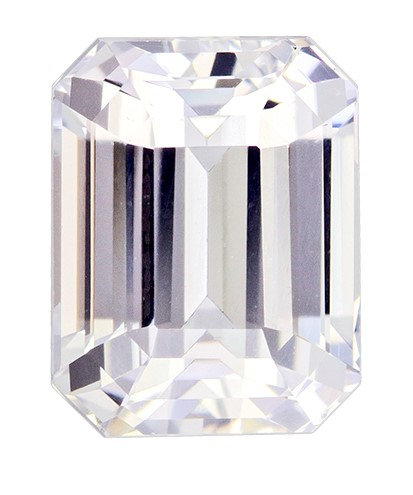 GIA Certified No Heat 7.9 x 6.2 mm White Sapphire Genuine Gemstone in Emerald Cut, Very Colorless White, 2.46 carats