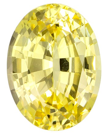 GIA Certified No Heat 8.3 x 6.2 mm Yellow Sapphire Genuine Gemstone in Oval Cut, Pure Rich Yellow, 1.68 carats